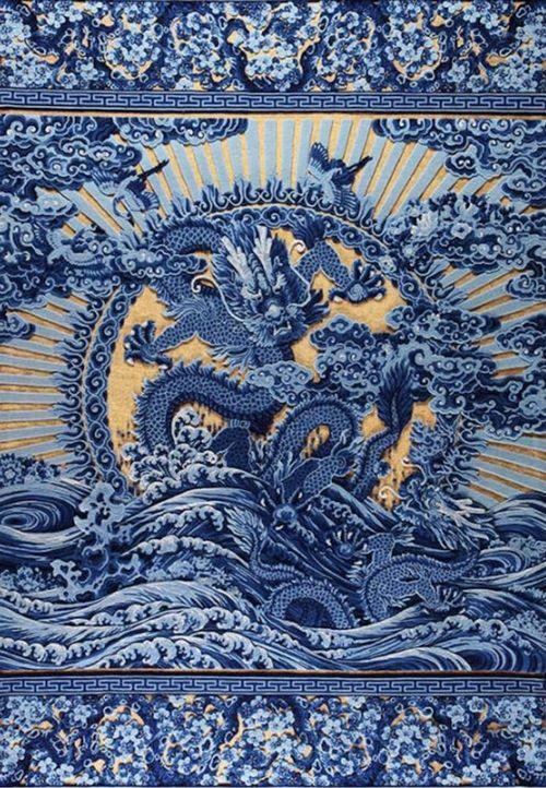 王国英北京宫毯织造技艺北京市级传承人盘金毯《带子上朝》