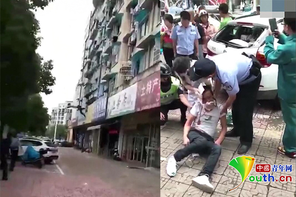 男子酒后与妻吵架从三楼跳下头部砸中路边宝马