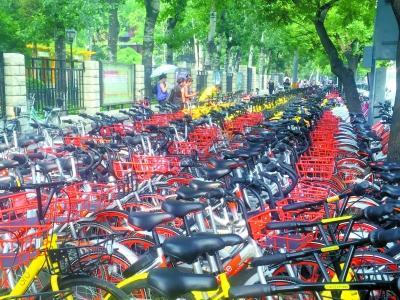 共享单车重行轻停成新堵地铁站外无路可走