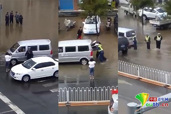 内蒙古交警被指雨中推车摆拍官方回应:在拍微电影