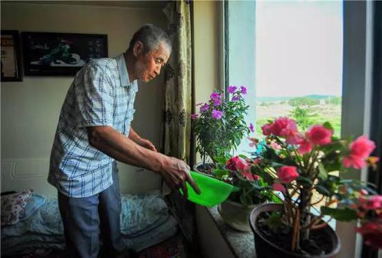 在内蒙古自治区兴安盟阿尔山市,林场退休职工郭永财在新居中浇花(7月18日摄)。新华社记者 连振 摄