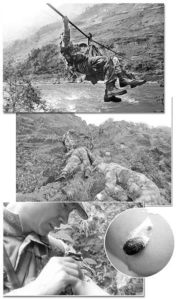 """边防官兵怒江巡逻:险过溜索 闯""""吸血峡谷""""(图)"""