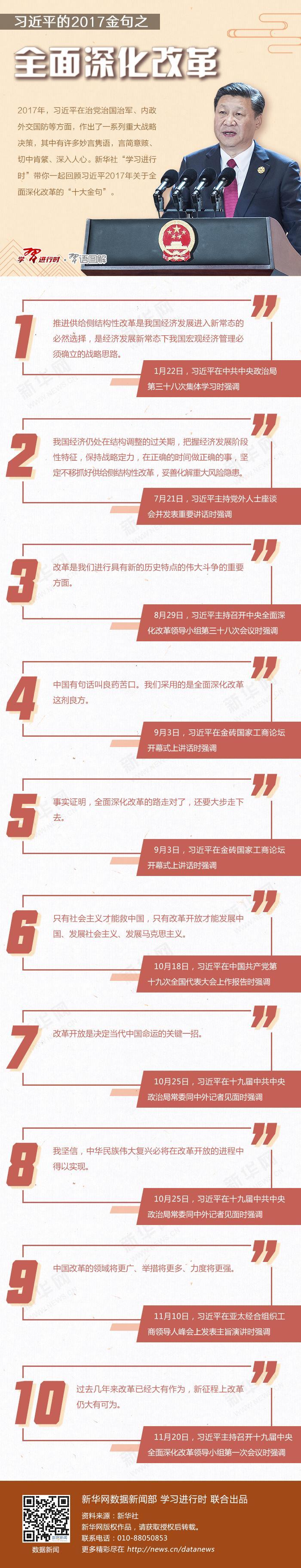 习近平的2017金句之全面深化改革