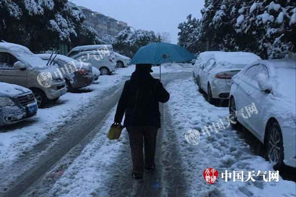 江苏44市县区积雪致多条高速被管制 南京有暴雪