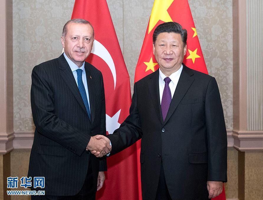 7月26日,国家主席习近平在南非约翰内斯堡会见土耳其总统埃尔多安。 新华社记者 王晔 摄