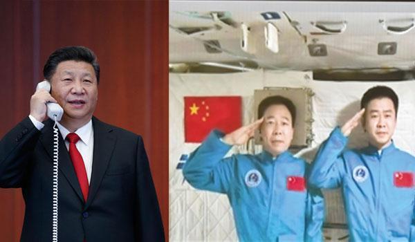2016年11月9日,习近平来到中国载人航天工程指挥中心,同正在天宫二号执行任务的神舟十一号航天员景海鹏、陈冬亲切通话。来源:新华社