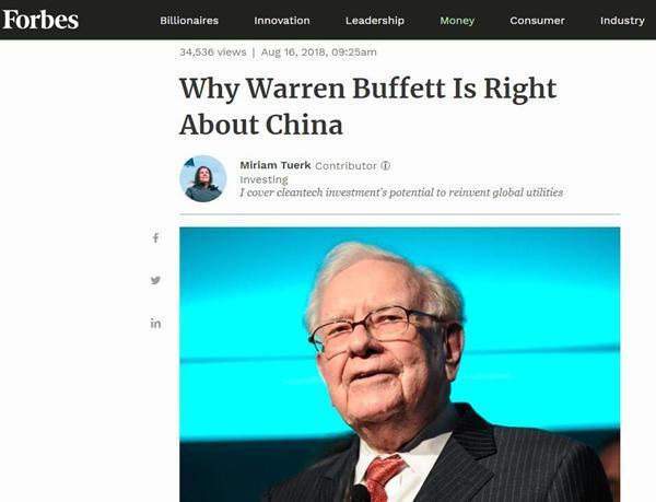 美媒:为什么巴菲特看准了中国