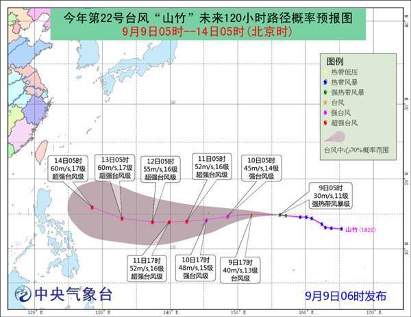 """""""山竹""""加强为强热带风暴级 未来五天对中国暂无影响"""