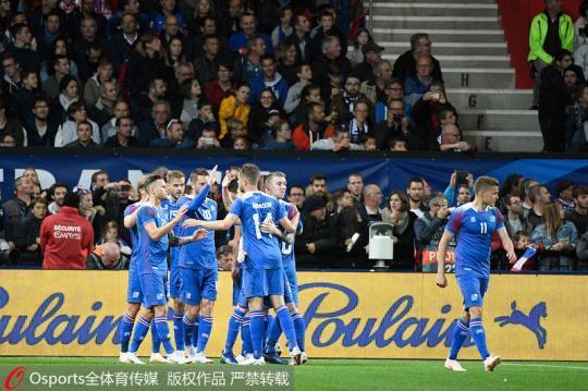 冰岛队庆祝进球