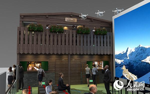 进博会瑞士国家馆小木屋立面效果图。瑞士驻华使馆供图