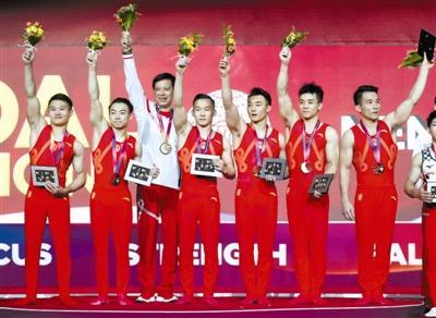 [中国队男团日本队]体操世锦赛中国男团夺金