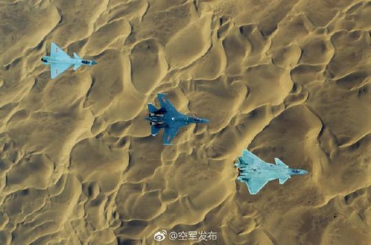 歼-10C、歼-16、歼-20同框(图片来源:中国空军官方微博)