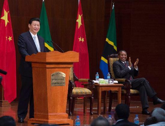 2013年3月25日,习近平在达累斯萨拉姆尼雷尔国际会议中心发表演讲。新华社记者王晔摄