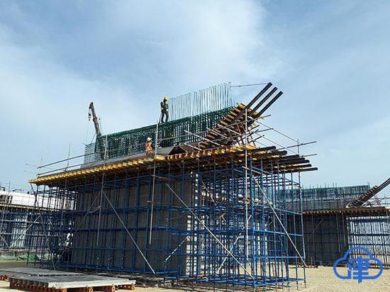 沙特朱拜尔TS-8高速公路S3桥施工现场
