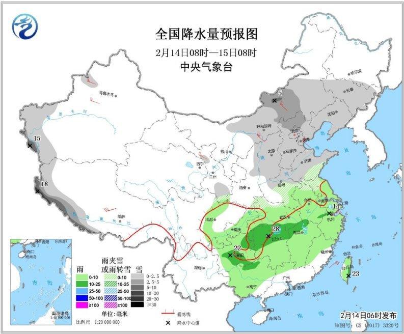 14日西北华北有降雪未来一周南方多阴雨天气