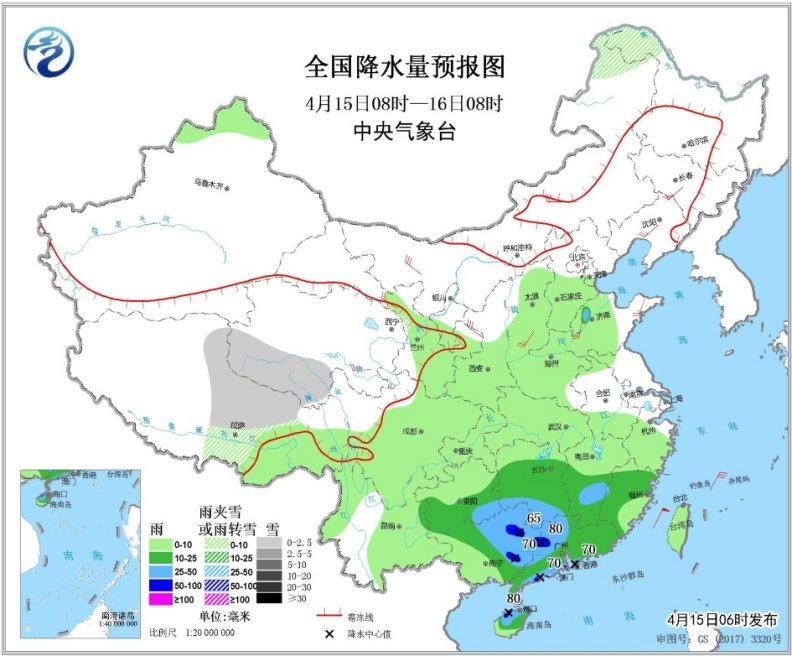 华南江南南部等地有强降水北方部分地区有大风沙尘