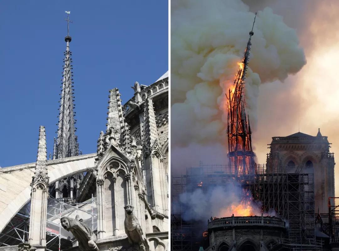 付之一炬!巴黎圣母院大火前VS大火后