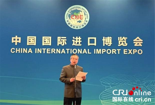 图片默认标题_fororder_中国国际进口博览局副局长、国家会展中心(上海)副总裁刘福介绍第二届进口博览会筹备情况。(摄影:王幸)