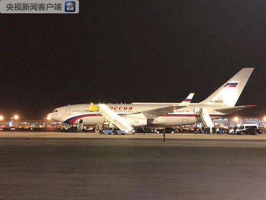 俄罗斯总统普京的专机于25日晚间抵达北京。(央视记者汪曙光拍摄)