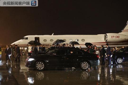 杜特尔特的专机于24日晚上抵达北京。(央视记者魏帮军拍摄)