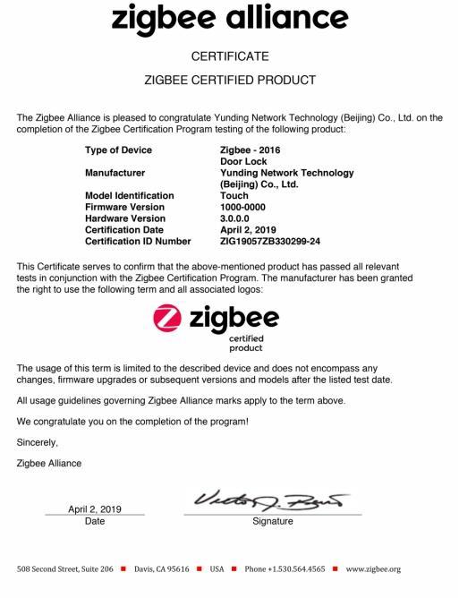 鹿客智能锁Touch率先通过Zigbee3.0认证