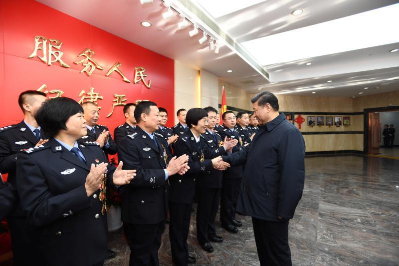 2019年2月1日,习近平到北京市公安局考察调研,看望公安干警,并视频连线一线执勤民警。