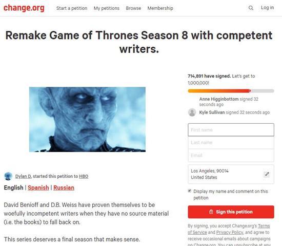 《权力的游戏》粉丝请愿重拍最终季 获70万网友支持