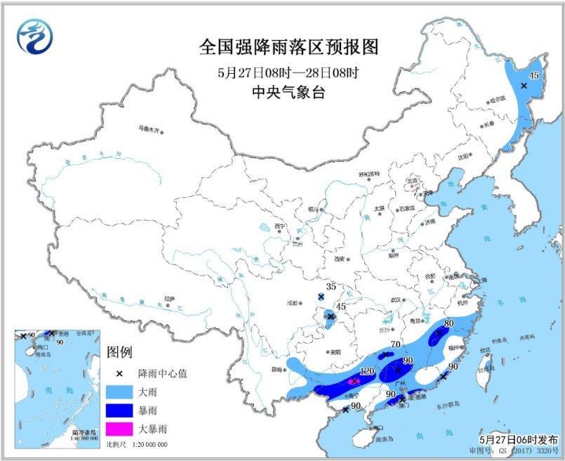 江南华南等地仍有较强降雨 北方有大风降温沙尘天气