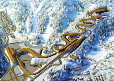 """国家雪车雪橇中心""""游龙""""初现 将成冬奥会最快赛道"""