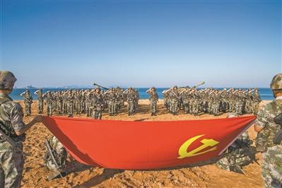 第73集团军某党日活动 战位映照党旗红