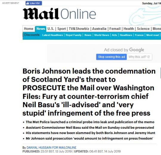 """警告媒体曝光机密文件恐被起诉,伦敦警局高官被批""""非常愚蠢"""""""
