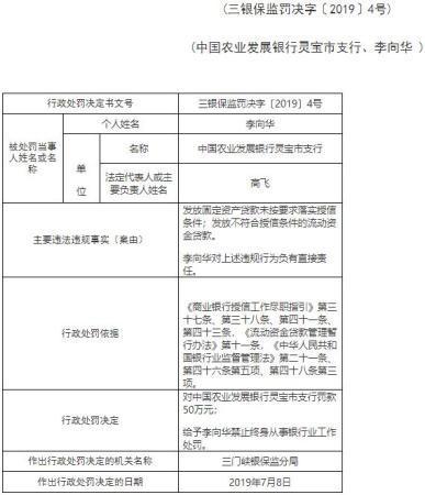 农业发展银行灵宝两宗放配资公司贷违规罚50万 1人遭终身禁业
