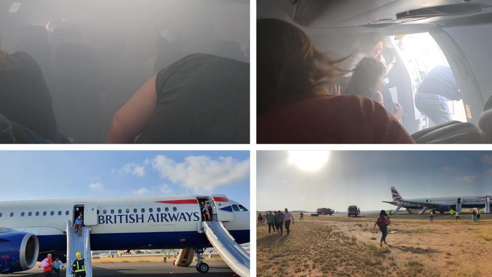 一英客机备降时忽冒浓烟 部分乘客被送往医院治疗