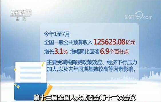 中国今年前七月一般公共预算收入125623.08亿元 增长3.1%