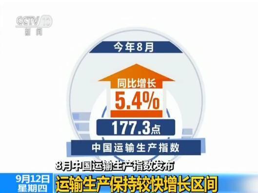8月中国运输生产指数发布:运输生产保持较快增长区间
