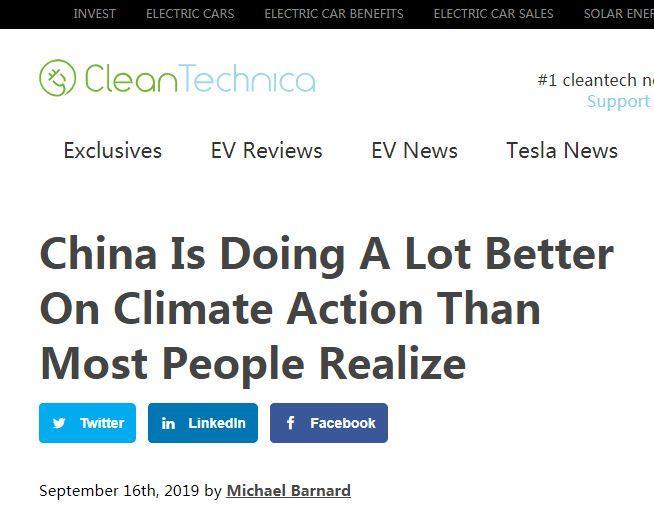 美媒:应对气候变暖,中国的努力给其他国家以启发