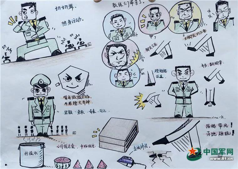 火箭军方队兵哥哥手绘阅兵生活点滴,画风超萌!