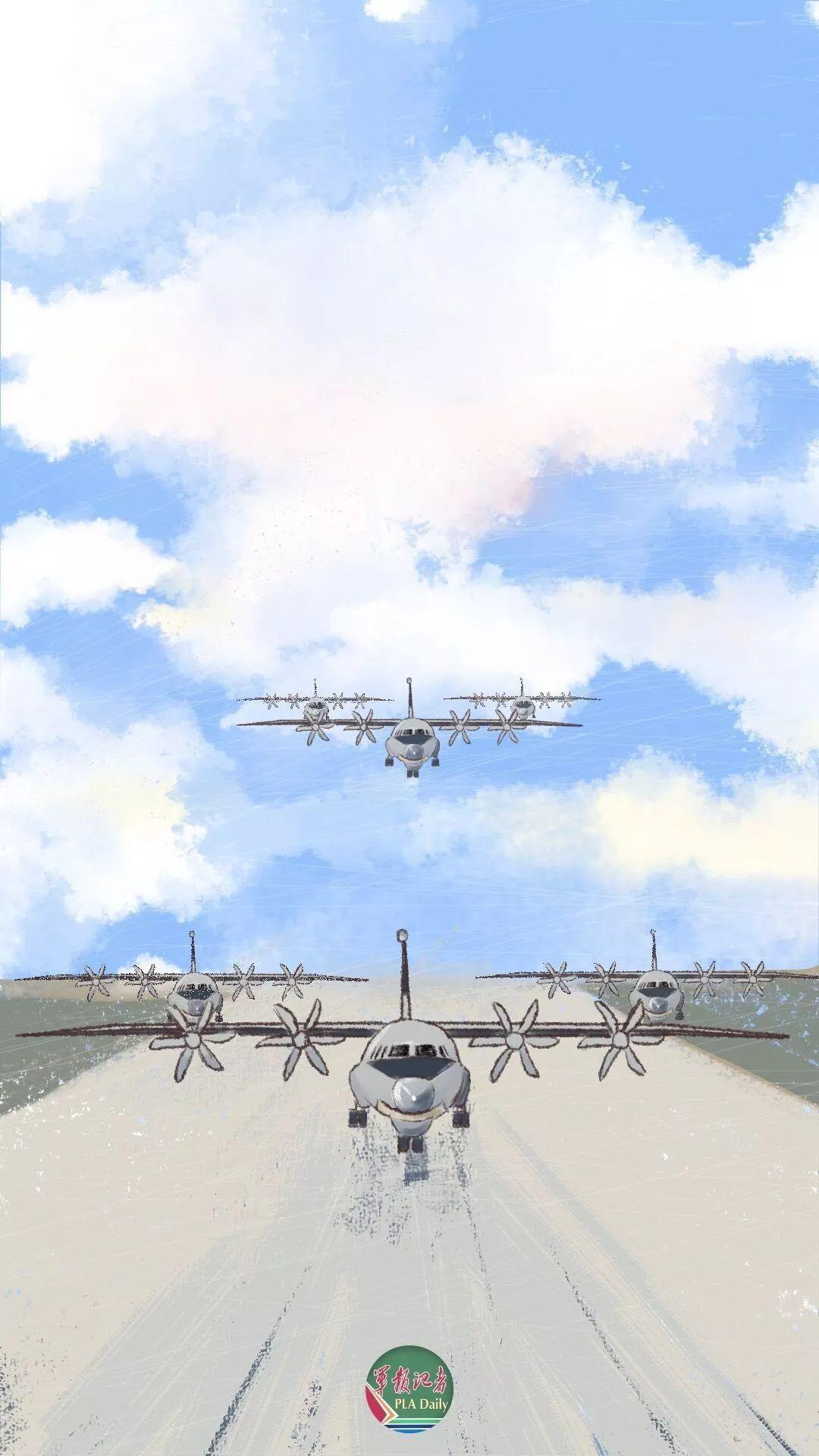 收藏!纯手绘受阅空中梯队漫画!