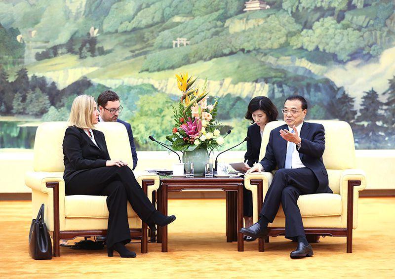 李克强会见欧盟委员会副主席、欧盟外交与安全政策高级代表莫盖里尼