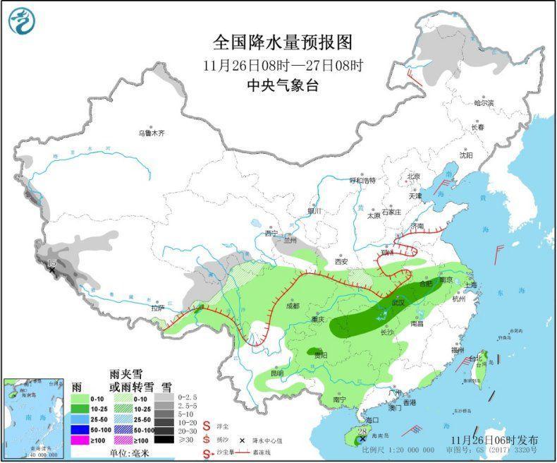 江淮江南地区将有小到中雨 东部和南部海区有大风