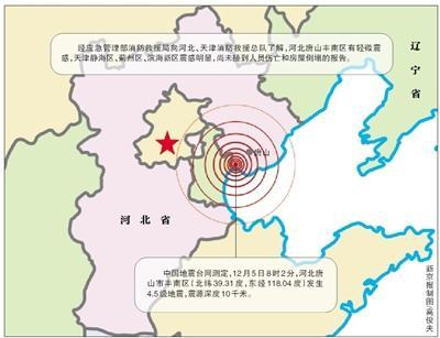 唐山4.5�地震京津部分地�^有震感 未造成人�T��亡