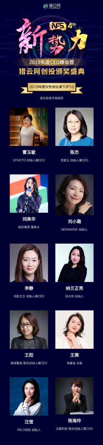 """百望云创始人陈杰获评""""2019年度女性创业者""""TOP10"""