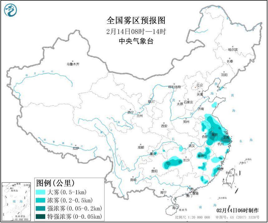 大霧黃色預警 江蘇上海安徽等地局地能見度不足200米