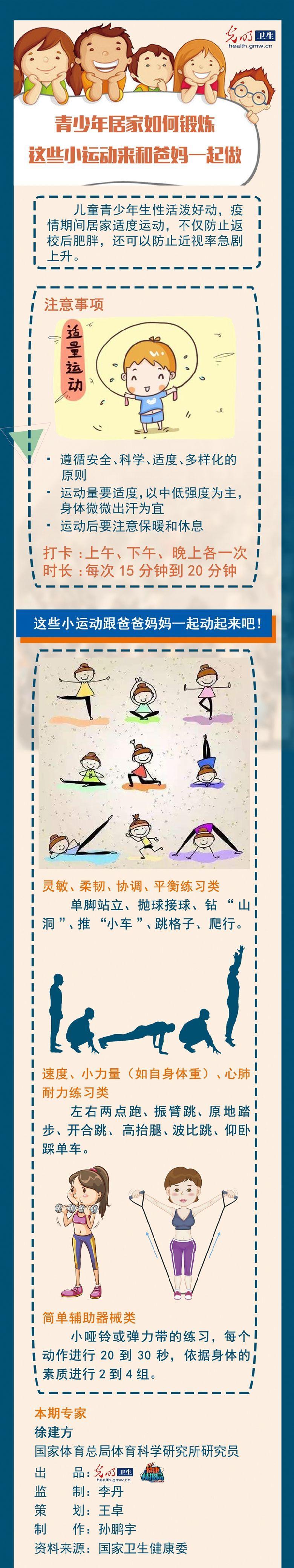 【一图读懂】青少年居家如何锻炼 这些小运动来和爸妈一起做