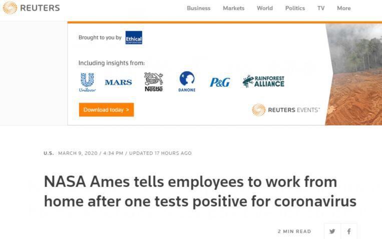 美国国家航空航天局下属研究中心1名员工感染新冠病毒 全员居家办公