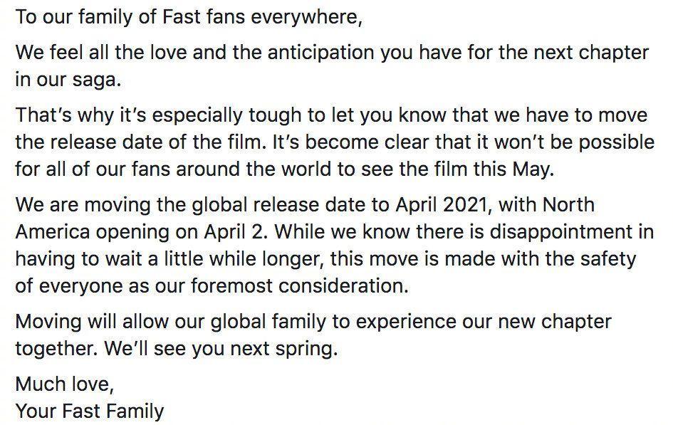 《速激9》延档至明年4月,范老大范·迪塞尔表示失望