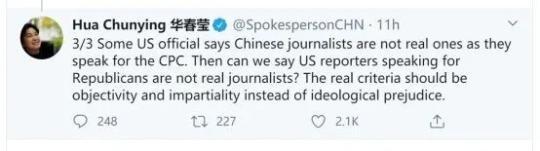 中美外交发言人推特再次交火!华春莹质问美方:你们在惧怕什么?企图遮掩什么?