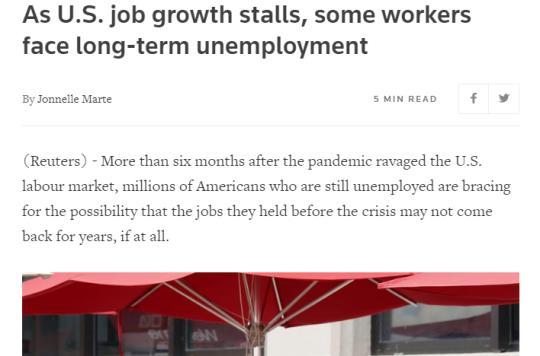 北美观察丨疫情下的美国经济:失业数据意外激增 招聘形势继续恶化