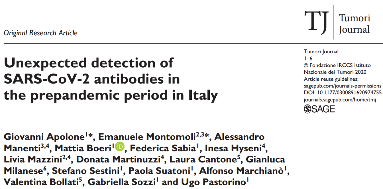 《肿瘤杂志》发布科学研究结果:意大利上年九月份很有可能就存有