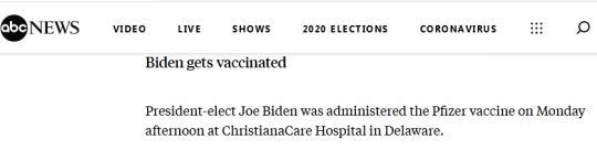 快讯!美国当选总统拜登公开接种新冠疫苗